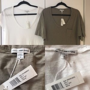 James Perse T-Shirts Olive White Set of 2 NWT L